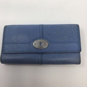 Fossil Blue Snap Closure Wallet, Lots of Room